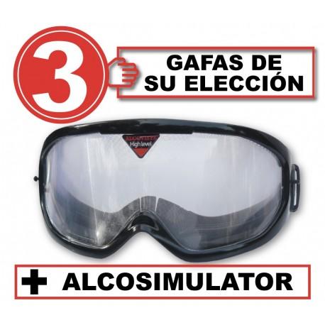 Pack de 3 gafas con Alcosimulator