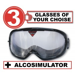 Pack of 3 impairment Goggles - any 3 goggles of choise+Alcosimulator-BAC curve