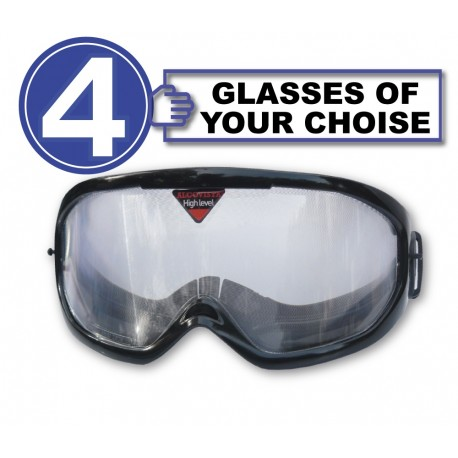 Pack with 4 drunk glasses