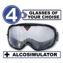 Pack of 4 impairment Goggles - any 4 goggles of choise+Alcosimulator-BAC curve