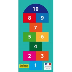 "Customizable challenge activity mat for educational workshops ""hopscotch game"" 2,50 x 1,20 m"